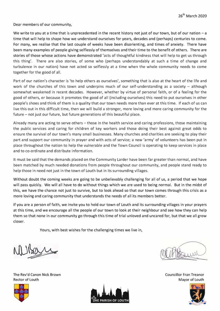 Letter from Mayor and Rector
